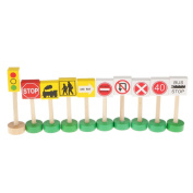 Set of Colourful Wooden Street Traffic Signs Kids Children Educational Toy Gift
