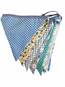 Blue Vintage Floral Fabric Bunting Double Sided Garland Shabby Chic Tea Party Banner - 3 metre