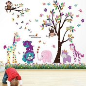 Walplus Wall Stickers Happy Animals Tree Butterfly Grass Removable Self-Adhesive Mural Art Decals Vinyl Home Decoration DIY Living Bedroom Décor Wallpaper Kids Room Gift, Multi-colour