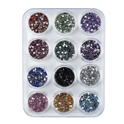 eBoot 12 Colours Nail Art Decorations Nail Stone Rhinestones with 12 Pack Small Container Pots, 6000 Pieces