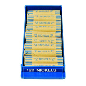 MMF Industries Porta-Count Rolled Coin Storage Trays, $20/Nickels, Blue, Pack of 10