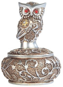 George S. Chen Imports SS-G-54365, 10cm Silver and Bronze Owl with Red Gems Trinket Box