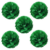 Allydrew 20cm Set of 5 Tissue Pom Poms Party Decorations for Weddings, Birthday Parties Baby Showers and Nursery Décor, Kelly Green