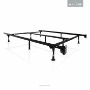 STRUCTURES by Malouf Heavy Duty 9-Leg Adjustable Metal Bed Frame with Double Centre Support and Glides Only - UNIVERSAL