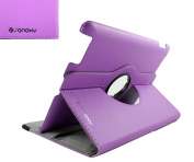 GMYLE(TM) Purple 360 Rotating Swivel Magnetic Smart Leather Stand Cover Case Ipad 2