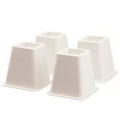 Home-it 13cm - 15cm SUPER QUALITY White bed risers, helps you storage under the bed 4-pack