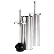 Oggi Satin Finish Stainless Steel 37cm Toilet Plunger and Holder
