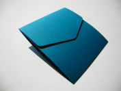 Square 122x125mm Teal/Peacock Pocketfold Wedding Invitation Wallets - Pack of 5 Pocketfold Invites & Plain White Envelopes 100gsm