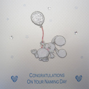 """White Cotton Cards Blue Embroidered Bunny """"Congratulations On Your Naming Day"""" Handmade Naming Day Card"""