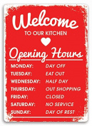 """""""Welcome to our Kitchen"""" Red Metal Wall Sign Plaque Art Inspirational Slogan Funny"""