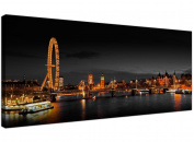 Panoramic Canvas Art of the London Eye at Night for your Living Room - 1186 - Wallfillers®