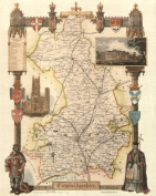 Cambridgeshire Reproduction Antique Map, Retro Reproduction Cambridgeshire Map, Thomas Moule Maps