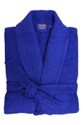 Home Bedding Store 100% Pure Cotton Mens and Ladies Cotton Royal Blue Terry Towelling Adults Shawl Collar Bathrobe Dressing Gown Bath Robe