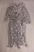 Ladies hooded bath robe, grey polka dot with frills.