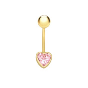 Carissima Gold 9 ct Yellow Gold with Pink Cubic Zirconia Heart Belly Bar