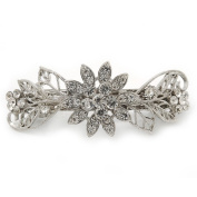 Bridal Wedding Prom Silver Tone Filigree Diamante 'Flowers & Leaves' Barrette Hair Clip Grip - 85mm Across