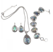 IPINK 3Pcs Water Drop Abalone Shell Turquoise Gemstone Necklace Earring Bracelet Jewellery Set