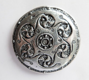 Celtic Six Swirls Shield Large Pewter Pin Badge - Hand Made in Cornwall