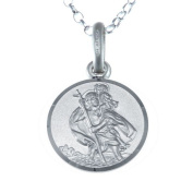 """Small Sterling Silver St Christopher Pendant with 16"""" Chain - 12mm"""