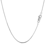 Sterling Silver Rhodium Plated Round Snake Chain Necklace, 0.9mm