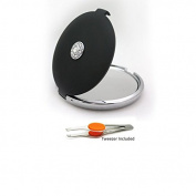 Jewelled Elegant 10x/1x Compact Mirror w/ Real Crystals by Floxite - Soft Black