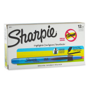 Sharpie 28010 Accent Pen-Style Retractable Highlighter, Fluorescent Blue, 12-Pack