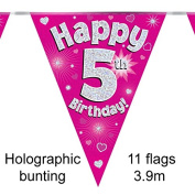 Happy 5th Birthday Pink Holographic Foil Party Bunting 3.9m Long 11 Flags