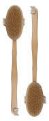 BS-MALL 2PCS Bath Brush Set Boar Bristle With Detachable Curved Long Handle Wooden Bath Shower Body Brush For Improving Circulation, Detoxifying, Reducing Cellulite