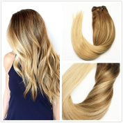 120 Gramme Full Thick Remy Human Hair Clip In Extensions Ombre Medium Brown to Ash Blonde Highlights Balayage Real Hair In 2 Colours 4/18 Full Head Clips On 60cm