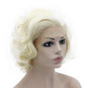 Mxangel Heat Resistant Half Hand Tied Light Blond Synthetic Lace Front Natural Short . Curly Wig
