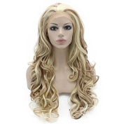 Mxangel Long Wavy Heat Resistant Fibre Celebrity Half Hand Tied Synthetic Lace Front Blond Auburn Mix Natural Wig