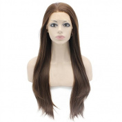 Mxangel Long Straight Half Hand Tied Brown Mix Synthetic Lace Front Wig Natural