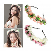 2pcs Bride Flower Crown Headband Wedding Festival Double Floral Garland Hairband