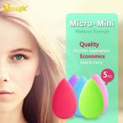VMAGIC 5PCS Mini Precision Makeup Sponge Beauty Foundation Sponge Blender for Flawless, Blend Foundation and Highlighter