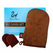 SwanMyst Double-sided Soft Microfiber Self Tanning Applicator for Streak-Free Tan, 2 Mini Facial Mitts included.