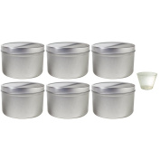 470ml Large Metal Steel Tin Deep Container with Tight Sealed Cover Lid (6 pack) + Measuring Cup