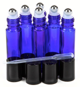 6 New 10ml Cobalt Blue Glass Roller Bottles Roll On Bottle Container with Metal Ball for Essential Oil Aromatherapy Perfumes and Lip Balms - 3ML Dropper Included