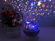 Star and Moon Starlight Projector Night Light Bedside Lamp, ZHOPPY USB / Battery Powered Romantic Rotating Cosmos Star Light Sky Moon Projector Lamp, Rotation Night Projection Child Kid Bedroom