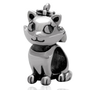 Charmstar Lovely Queen Cat Charm Antique Sterling Silver Cute Animal Bead for European Bracelet