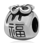 Charmstar Fortune Chinese Money Bag Charm Antique Sterling Silver Bead Fits European Style Bracelets Jewellery