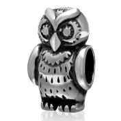 Charmstar Thick Owl Charm Antique 925 Sterling Silver Animal Bead Fits European Bracelet