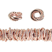 8mm Rose Gold plated Copper Twist and Plain Mobius Spacer Bead 8 inch 81pcs
