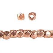 3mm Rose Gold plated Brushed Faceted Nugget Bead 8 inch 64 beads