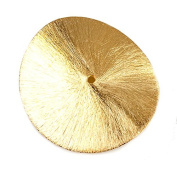 39mm 22kt Gold plated Copper Brushed Wavy Disc 1 piece