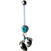 Astage Women`s Pregnancy Flexible Belly Button Ring Or Glitters Piercings Blue