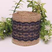 OZXCHIXU(TM) 60mm Natural Hessian Burlap with Lace Ribbon for Wedding Decoration DIY Craft (2M)