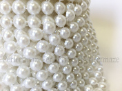 Perfectmaze WHITE Pearl Mesh Rhinestone Ribbon Wrap for Wedding, Party, and Events Decoration