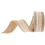 Burlap Ribbons - Lace and Pearls 3.8cm Wide - 3 Yards