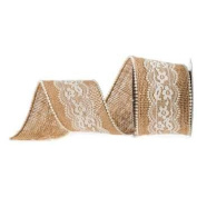 Burlap Ribbons - Lace and Pearls 6.4cm Wide - 3 Yards
