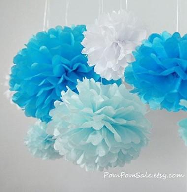 Sorive® 5pcs 2 Sizes Tissue Paper Flowers,Tissue Paper Pom Poms,Wedding Party Decor,Pom Pom Flowers,Tissue Paper Flowers Kit,Pom Poms Craft,Wedding Pom Poms-Sorive (Blue & Light Blue)